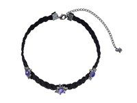 Rebecca Minkoff Rock N Roll Charms On Braided Leather Choker Necklace Gunmetal Lavender Necklace Silver