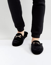 Dunlop Slip On Bar Loafer Slippers Black Black