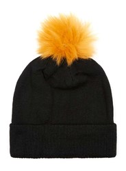 Topman Black And Orange Bobble Beanie Hat