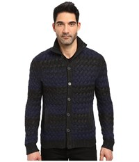 John Varvatos Long Sleeve Button Through Sweater Jacket In Basket Weave Multiple Stripe Y1369s3b Indigo Heather Men's Coat Blue