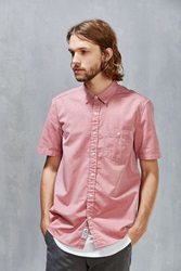 Cpo Short Sleeve Herringbone Button Down Shirt Red