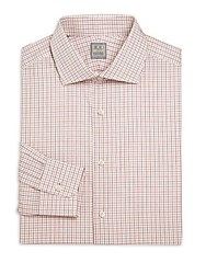 Ike Behar Long Sleeve Checked Dress Shirt Tuscan Red