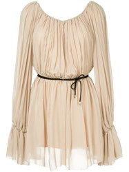 Thierry Mugler Georgette Dress Nude And Neutrals