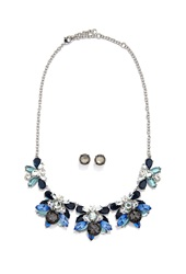 Forever 21 Rhinestone Statement Necklace And Earring Set Silver Blue