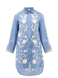 Juliet Dunn Floral Embroidered Cotton Chambray Shirtdress Blue White