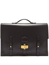 Dunhill Duke Flap Leather Briefcase Black