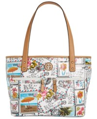 Giani Bernini Coated Canvas Medium Tote Created For Macy's Postcard Print