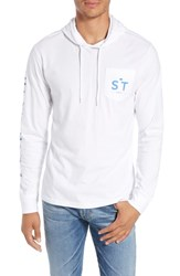 Southern Tide Wave Hooded T Shirt Classic White