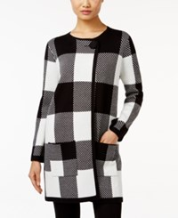 Alfani Plaid Sweater Coat Only At Macy's Checkered Squares Black White
