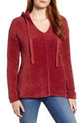 Caslon Off Duty Sweater Hoodie Red Ruby