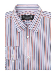New And Lingwood Laurel Multi Stripe Shirt Blue