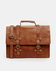 Asos Double Strap Leather Satchel Tan
