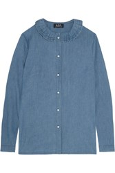 A.P.C. Atelier De Production Et De Creation Julia Pleated Cotton Chambray Shirt Mid Denim