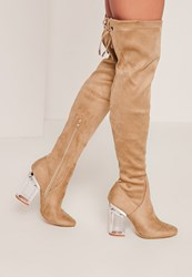 Missguided Nude Perspex Heel Over The Knee Boots