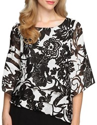 Alex Evenings Floral Tiered Chiffon Blouse Black White
