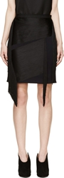 Lanvin Ink Blue Wool Fringed Mini Skirt