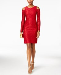 Alex Evenings Glitter Lace Cold Shoulder Dress Red