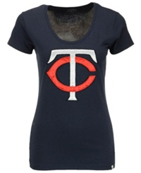 '47 Brand Women's Minnesota Twins Satin Scoop T Shirt Navy