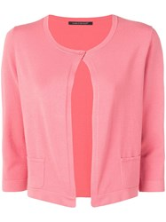 Luisa Cerano Open Front Knitted Cardigan Pink