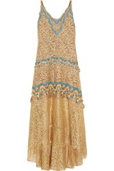 Peter Pilotto Crochet Trimmed Metallic Lace Gown Gold