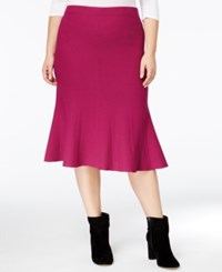 Rachel Roy Curvy Trendy Plus Size Fit And Flare Skirt Fuschia