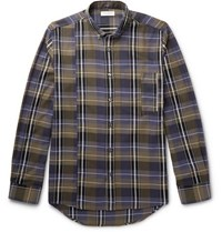 Public School Retor Button Down Collar Panelled Checked Cotton Shirt Green
