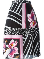 Salvatore Ferragamo Multi Print Skirt Black