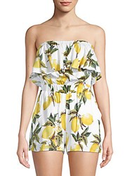Lucca Couture Taila Ruffle Overlay Romper Lemon