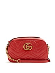 Gucci Gg Marmont Small Quilted Leather Cross Body Bag Red