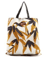 Marni Packable Cotton And Leather Tote White Multi