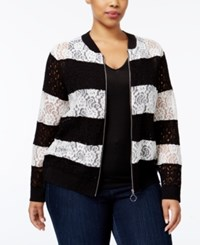 Inc International Concepts Plus Size Lace Bomber Jacket Only At Macy's Deep Black