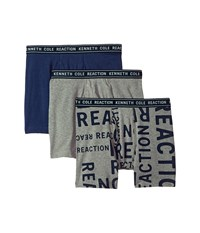 Kenneth Cole Reaction 3 Pack Novelty Boxer Brief Large Logo Print Light Grey Heather Navy Underwear Multi