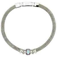 Monet Vitrail Crystal Mesh Collar Necklace Silver