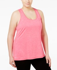 Ideology Plus Size Essential Racerback Performance Tank Top Only At Macy's Molten Pink