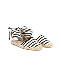 Soludos Striped Espadrille Sandals Black Natural Linen White