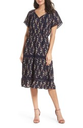 19 Cooper Floral Lace Midi Dress Navy