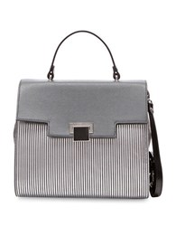 Braccialini Linda Crossbody Saffiano Leather Handbag Silver Multi