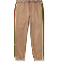 Gucci Slim Fit Webbing Trimmed Cotton Drill Trousers Neutrals