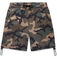 Valentino Camouflage Print Fleece Back Jersey Drawstring Shorts Green