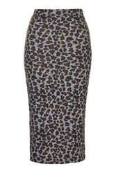 Topshop Leopard Print Midi Skirt Brown