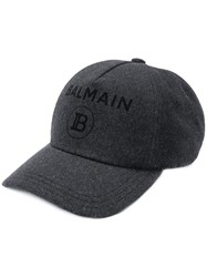Balmain Wool Logo Baseball Cap Grey