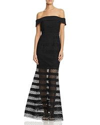 Jarlo Off The Shoulder Illusion Stripe Gown Black