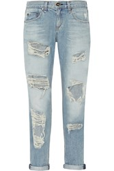 Rag And Bone The Boyfriend Distressed Low Rise Jeans Blue