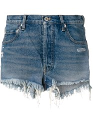 Off White Frayed Jean Shorts Blue