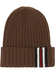 Burberry Icon Stripe Detail Rib Knit Wool Beanie Brown