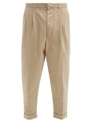 Ami Alexandre Mattiussi Turn Up Cotton Gabardine Trousers Beige