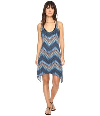 Lucky Brand Nomad Chevron Shark Bite Dress Cover Up Indigo Women's Swimwear Blue