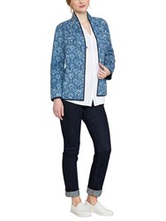 East Neelam Print Quilted Jacket Indigo