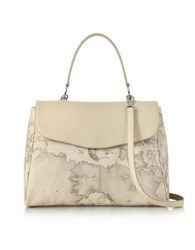 Alviero Martini 1A Classe Geo Safari Print And Cream Grained Leather Satchel Bag W Shoulder Strap