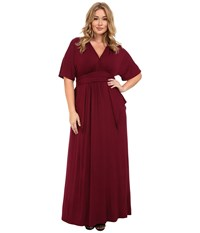 Kiyonna Indie Flair Maxi Dress Raspberry Wine Women's Dress Red